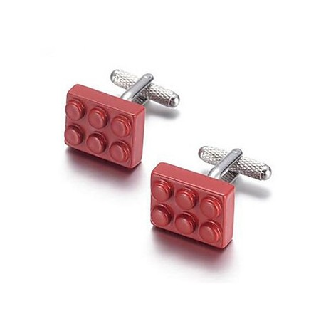 BOUTONS MANCHETTES METAL LEGO ROUGE.