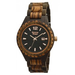 MONTRE EN BOIS DE SANTAL/ZEBRE GREEN TIME.