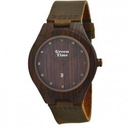 MONTRE EN BOIS DE SANTAL BRUN BRACELET VÉGAN GREEN TIME.