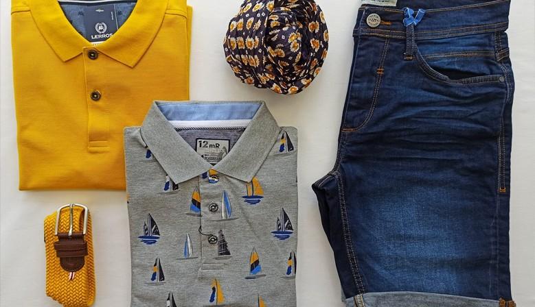 Polo Lerros 27.99€ / Polo Ragman 59.95€ / Short en jeans Blend 29.95€ / Ceinture La Boucle 69.00€ / Foulard 24.95€